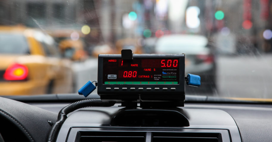 View from inside a taxi cab