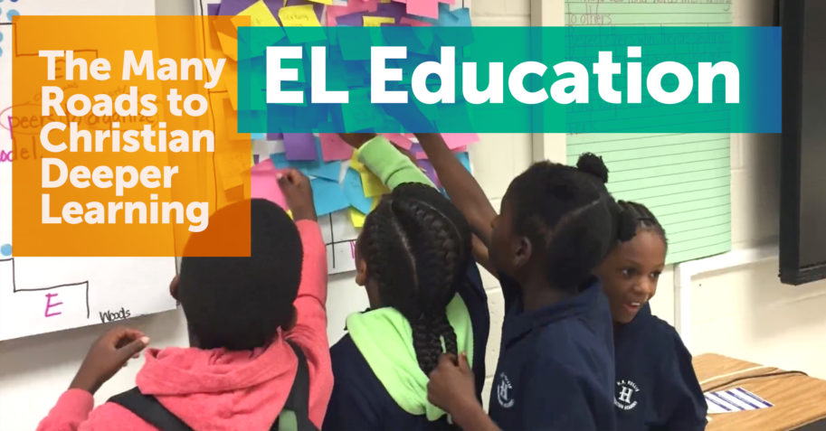 Kids learning with the EL Education method of Christian Deeper Learning