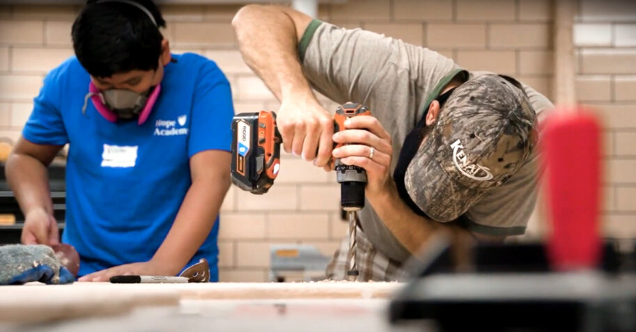 High school students in Christian school Career and Technical Education (CTE) course